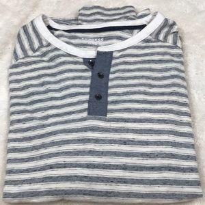 Express Henley Striped Long Sleeve Shirt